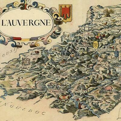 Old Map Of France.Auvergne France Small Cartoon Pictorial Map C 1950 Decorative Colorful Old Map