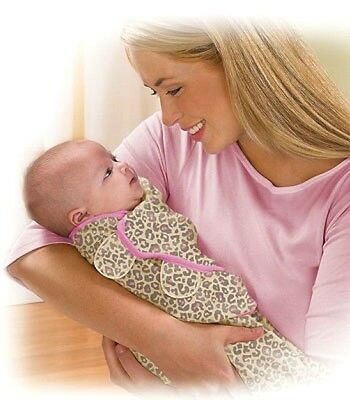 New Baby SwaddleMe Wrap Swaddle Blanket Small Animal Print Leopard & Pink