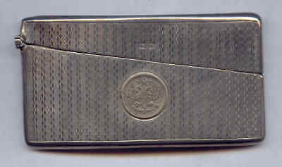 A & J Zimmerman English Antique STERLING SILVER BUSINESS CARD CASE Crowned Eagle