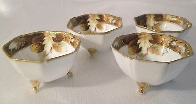 BEAUTIFUL Antique NIPPON Hand Painted SET OF 4 NUT CUPS Moriage GOLD Excellent