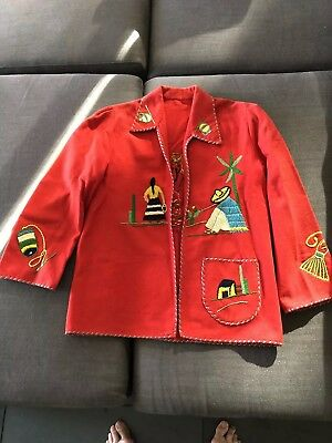 Vintage Mexican Souvenir Jacket Red With Embroidery