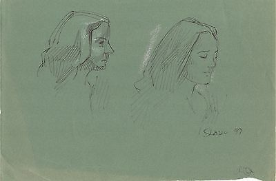 Original Miriam Slater Ink & Pastel Woman's Portrait Drawing Sketches Signed Art