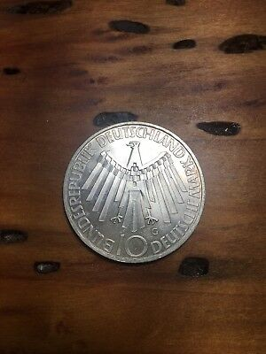 Germany 10 Marks, 1972G, .625 Silver, 15.5g UNC