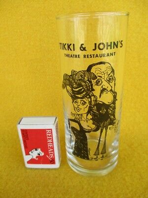 Rare Tikki & John Glass Theatre Restaurant Highball Showbiz Tumbler Vintage Old