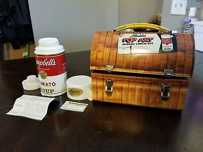Clean Vintage 1968 Aladdin Dome Bread Campbell's Lunchbox with Thermos. Pop-Art
