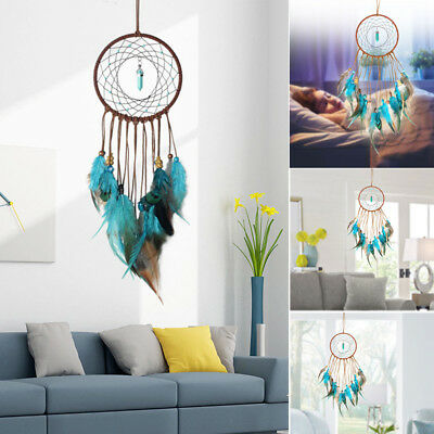 Large Blue Dream Catcher Xar Wall Hanging Decoration Ornament Handmade Feather