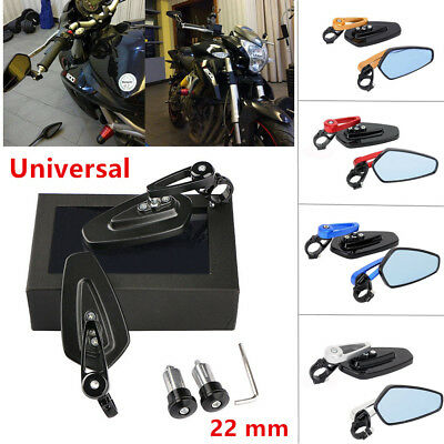 2PCS Universal Motorcycle Bike Handle Bar End Rearview Side Mirror Aluminum 22mm