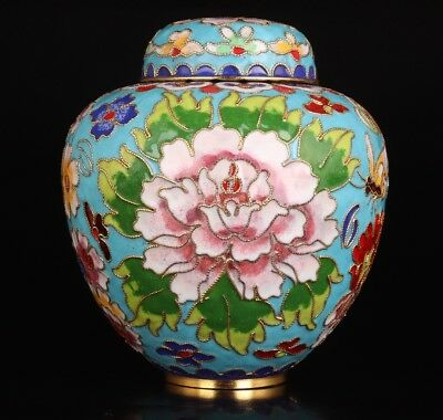Vintage Chinese Cloisonne Pots Jar Old Handmade Crafts Collection