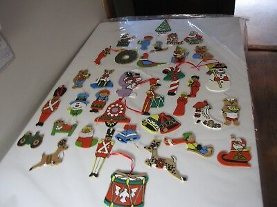 Vintage 36pc wood Christmas tree ornaments- flat,  paint by number- 70's