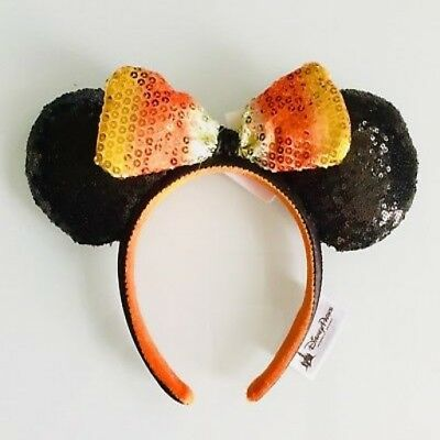 Disney Exclusive Minnie Ears Halloween Candy Corn Bow Sequin Headband SOLD OUT