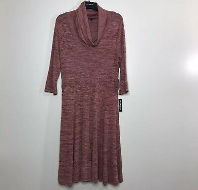 Women s Blooming Rose Sweater Dress Plus 1X Dusty Rose Pink Cowl Neck 3 4  Sleeve 2ce4715fe