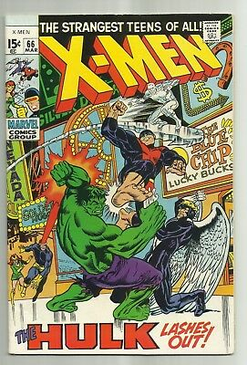 X-Men #66 (Marvel 1970), VG/FN, Hulk Lashes Out, last issue before reprints!