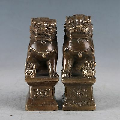 Exquisite Brass A Pair Of Lions  Statue HT0040+a
