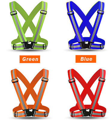 Sport Safety Reflective Vest Straps Jacket Night Running Cycling Outdoor Hot UK