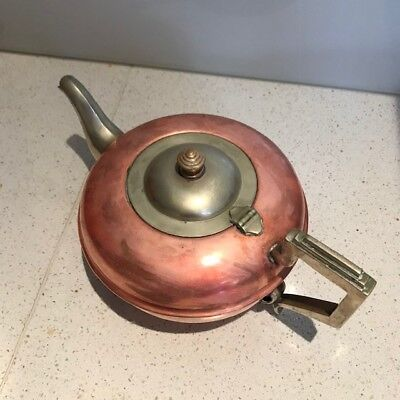 Copper / silver plated antique teapot