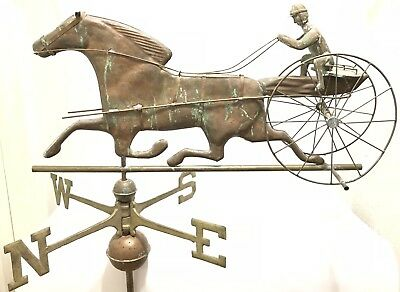 "Antique 32"" Copper Sulky Jockey Horse Carriage Buggy Weathervane W Directionals"