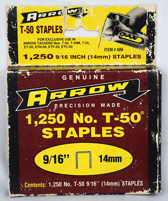 "Vintage Package ARROW 1,250 Staples 9/16"" 14mm #T-50 (only 1,200 in box)"