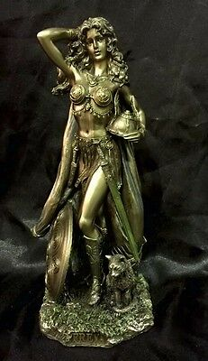 Bronze Coated Cold Cast Statue Of Norse Goddess Freya 27 High