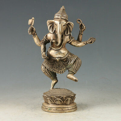 Chinese Exquisite Silver Copper HandMade Carved Ganesha Statue  GL531