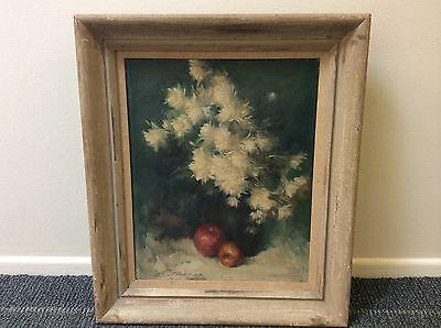 Authentic Signed Floral Oil Painting By Leon Franks Listed California Artist