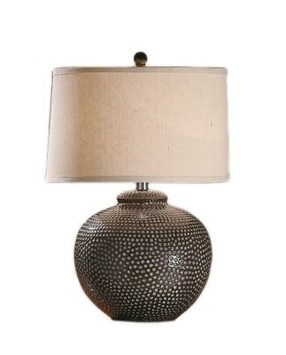 Graham Hammered Ceramic Pot Table Lamp 26 Inches Tall