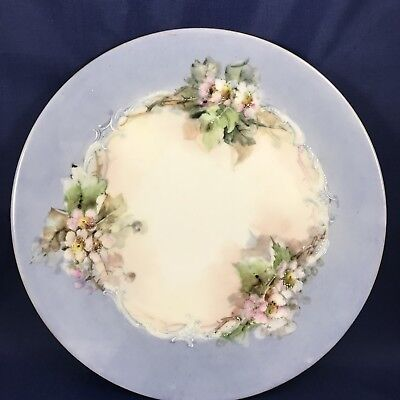Antique T & V Limoges Blue Floral Gold Rim Plate Circa 1900