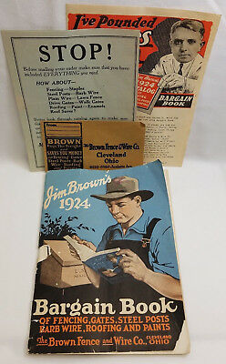 Jim Browns Bargain Book Antique Fence & Wire Catalog Farm Tools Roofing 1924