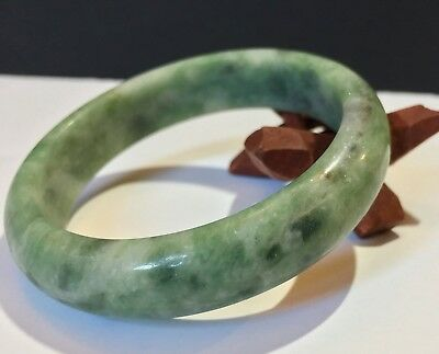 Antique White & Emerald Green Pakistan Jadeite Bangle - AAA Grade Untreated