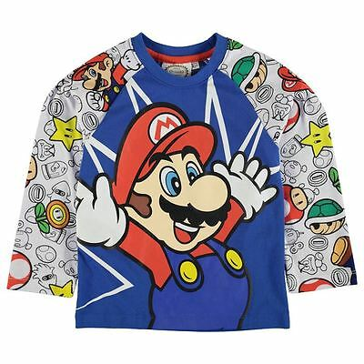 Nintendo Super Mario Blue Printed Long Sleeved T-Shirt - BNWT
