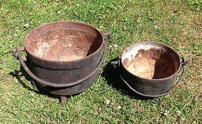 X2 Vintage French Cauldrons In Cast Iron Garden Planters