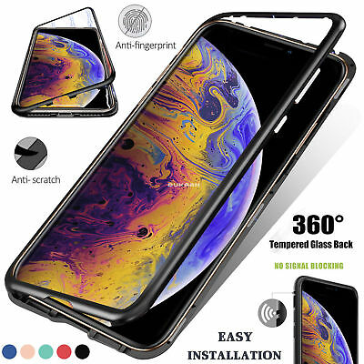 360 Magnetic Adsorption Metal Case Tempered Glass Cover For iPhone XS XR XS Max