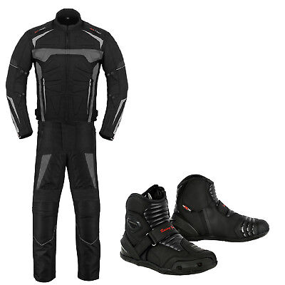 Motorbike Motorcycle Clothing Suit Jacket Trouser Waterproof Leather Riding Boot