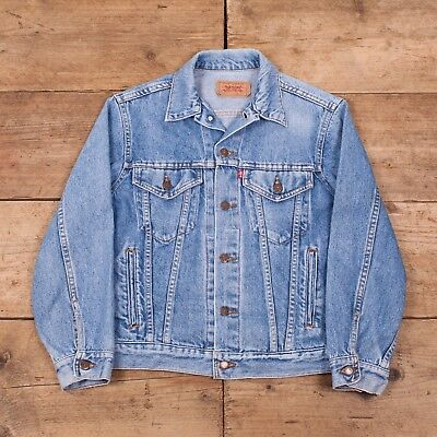 "Mens Vintage Levis Red Tab 80s Blue Denim Trucker Jacket USA Small 36""  R10148 7a28f910c04e"
