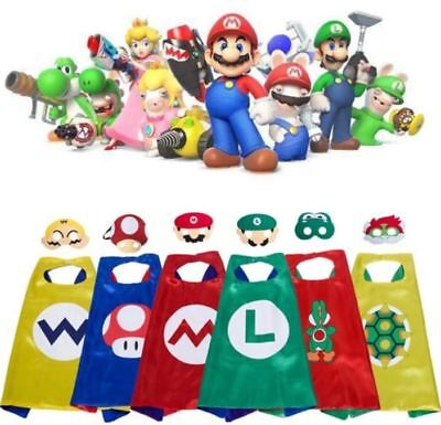 Super Mario & Luigi Bros Costume Cape & Mask Set -Yoshi Bowser Wario Toad Luigi