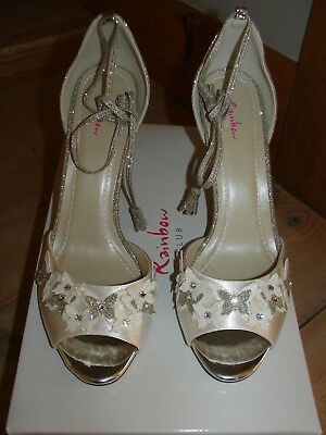Rainbow shoes ZARAH strappy sandal 5.5 ivory satin and fine shimmer New in box