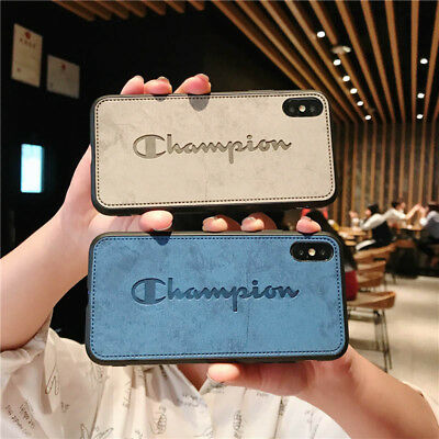 Champion PU Leather Classic Cute Soft Case For iPhone X XR XS Max 6 6s 7 8 Plus