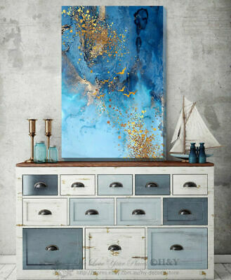 Blue Gold Abstract Stretched Canvas Print Framed Home Wall Decor Printing A364