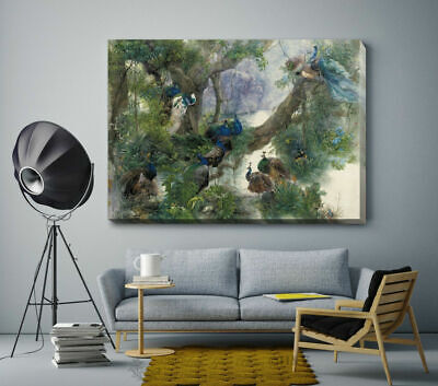 Peafowl Peacock Stretched Canvas Print Framed Home Wall Decor Printing Gift FA25