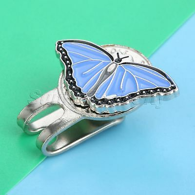 Golf Ball Marker with Magnetic Hat Clip Blue Butterfly with Crystals Designed