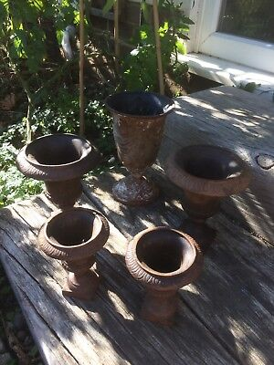 Small Cast Iron Urns Vases Pots Lot Of 5 French