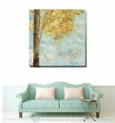 Golden Tree Stretched Canvas Print Framed Printing Wall Art Home Decor Gift F83