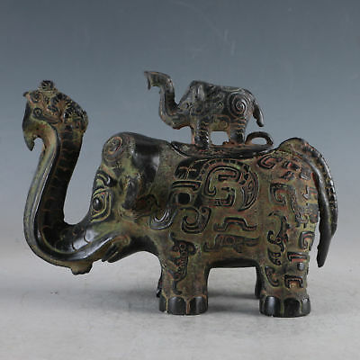 Chinese Exquisite Bronze Elephant Incense Burner QT0019