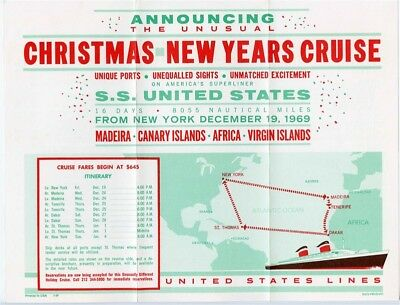 S S United States Christmas New Years Cruise Brochure 1969 Unusual Itinerary