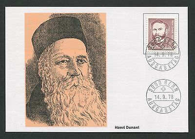 SCHWEIZ MK 1978 HENRY DUNANT ROTES KREUZ RED CROSS MAXIMUM CARD MC CM d4889