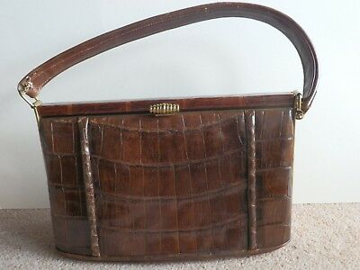 WALDYBAG - Vintage Brown Leather Hand Bag; Gold Clasp & Soft Leather Purse