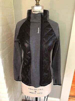 Reebok Womens Jacket Zip Front Quilted Size Small Gray Black