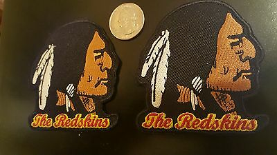 """(2) Washington Redskins vintage embroidered iron on patch Lot 3"""" x 3""""  mint"""