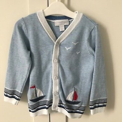 The Little White Company Boys Sailboat Cardigan 12-18 Months - Red, Navy, Blue