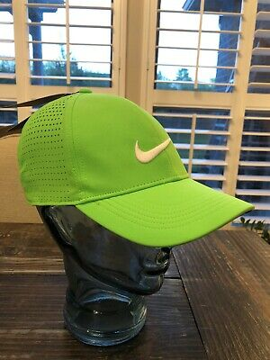 NWT- Nike AeroBill Perforated Lime Green White Swoosh Adjustable Golf Hat  Cap 43e810e179a