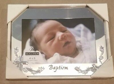 "Malden 4""x6"" Baby Baptism Christening Picture Frame Silver Brand New In Box"